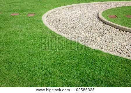 Field Green Grass And White Stone