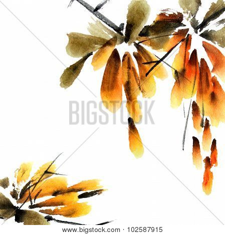 Yellow floral branch