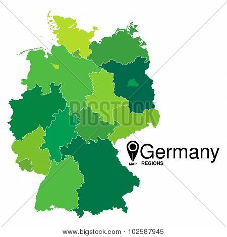 Regions Map Of Germany. Deutschland Map