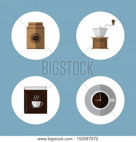 Coffee And Tea Flat Icon Set