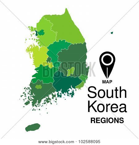 Regions Map Of South Korea. South Korea