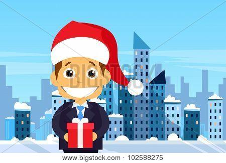 Businessman Gift Box Winter City Skyscraper View Cityscape Snow Skyline