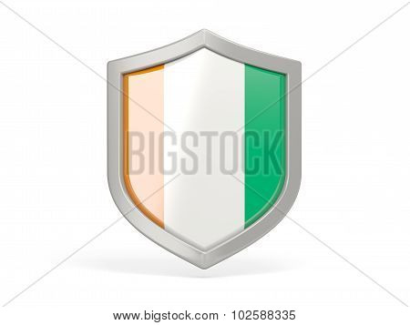Shield Icon With Flag Of Cote D Ivoire