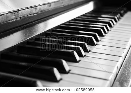 close-up of piano keys. close frontal view bw