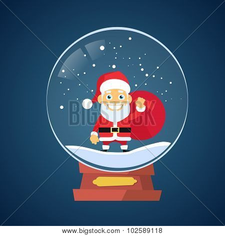 Santa Claus Cartoon Wish Glass Ball Christmas Holiday Winter Snow