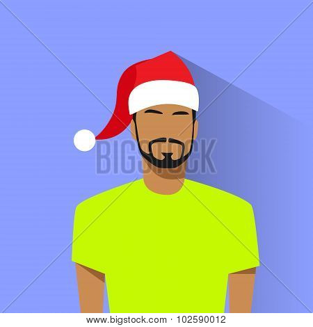 Profile Icon Hispanic Male New Year Christmas Holiday Red Santa Hat Avatar Portrait Casual Person Si