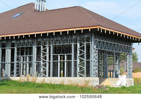 House Of Metal Truss Frame Made Of Iron With A Mansard Roof Brown