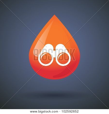 Blood Drop Icon With A Binoculars