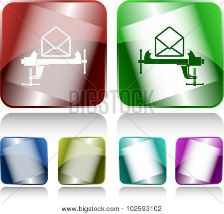 open mail with clamp. Internet buttons. Vector illustration.