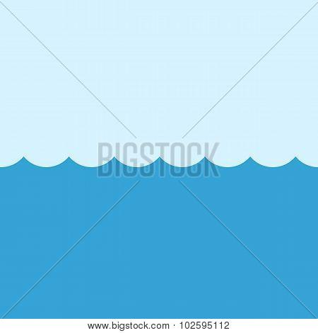 Sea vector illustration, modern minimal flat design style. Ocean symbol, water
