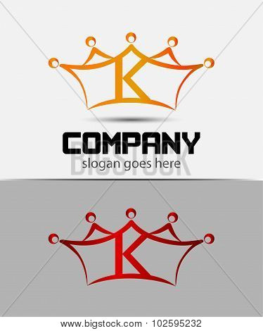 Letter k logo with crown icon design template elements