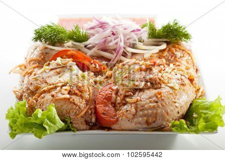 Marinated Chicken with Onions and Vegetables