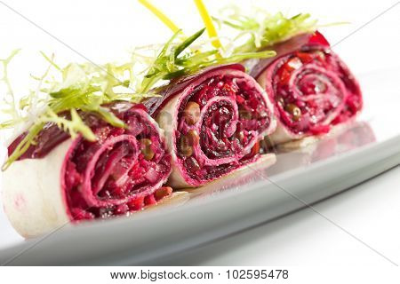 Beetroot Salad in Pita Wrap