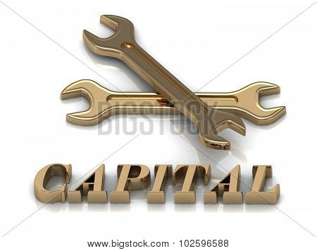 Capital- Inscription Of Metal Letters And 2 Keys