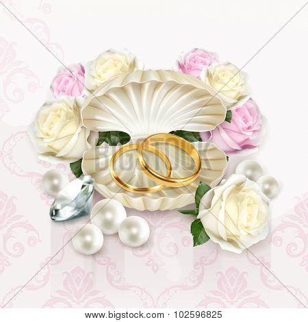 Wedding rings, vector illustration