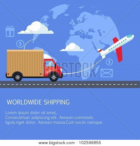 Supply and delivery logistics services in the business. Worldwide shipping, truck, plane