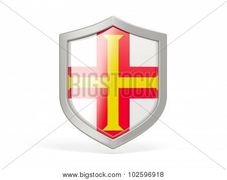 Shield Icon With Flag Of Guernsey