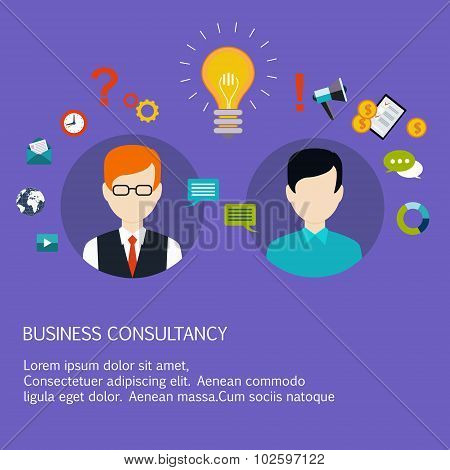 Business advice, coaching, training on business. Flat style vector