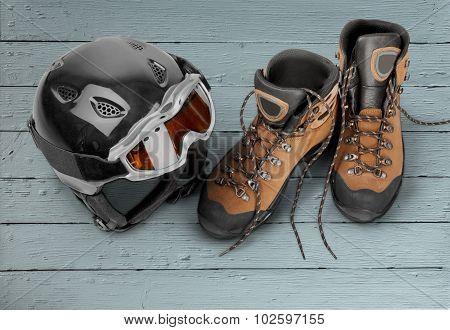 Ski Goggles and Helmet.