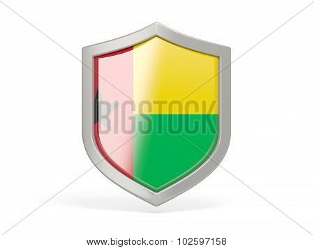 Shield Icon With Flag Of Guinea Bissau