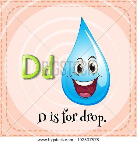 Flashcard letter D is for drop illustration