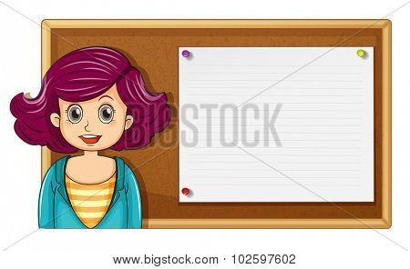 Female teacher and wooden board illustration