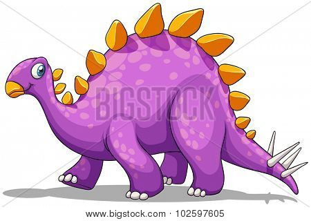 Purple dinosaur with spikes tail illustration
