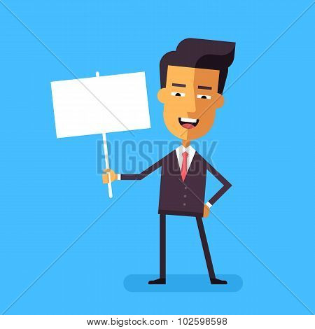 Handsome asian businessman holding banner. Vector