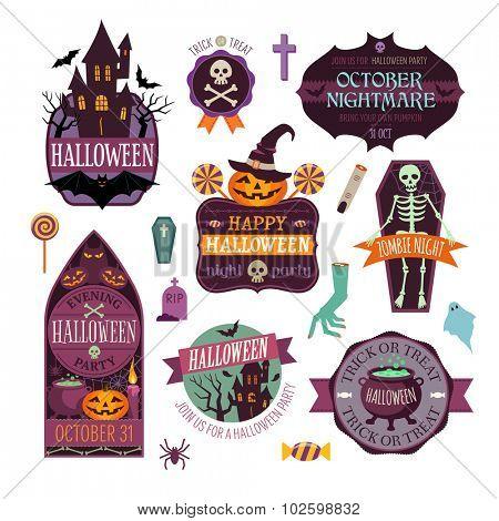 Set Of Vintage Happy Halloween Badges and Labels