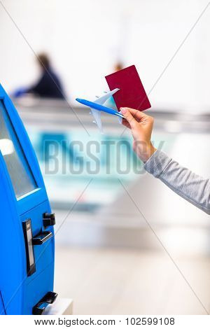 Terminal for self-check-in for flight or buying airplane tickets at airport