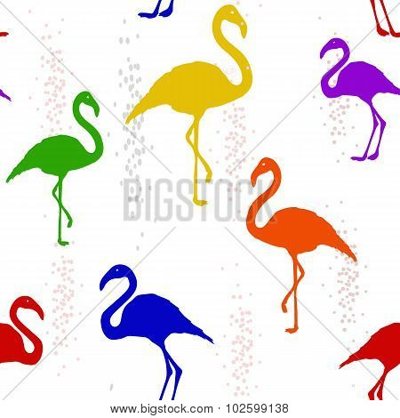 Abstract Seamless Pattern With Six-colored Rainbow Flamingo