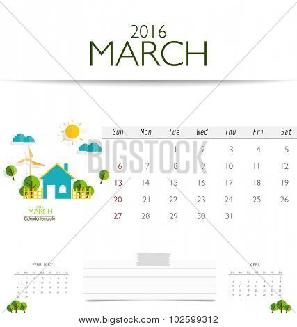 2016 calendar, monthly calendar template for March. Vector illustration.