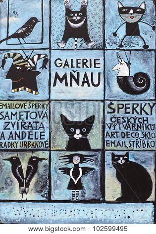 PRAGUE, CZECH REPUBLIC -  SEPTEMBER 02, 2015: Photo of  Art Gallery - Gallery of Meow.
