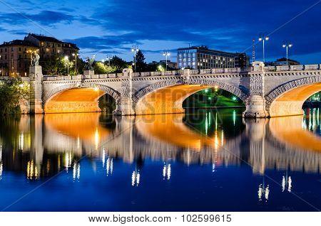 Turin (torino), Bridge Umberto I And River Po At Blue Hour