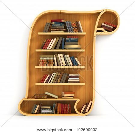 Concept Of Training. Wooden Bookshelf In Form Of Scroll. History. A Human Have More Knowledge.