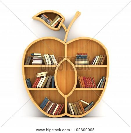 Concept Of Training. Wooden Bookshelf In Form Of Apple. Science Concept. A Human Have More Knowledge