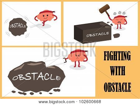 Brain Fighting With Obstacle