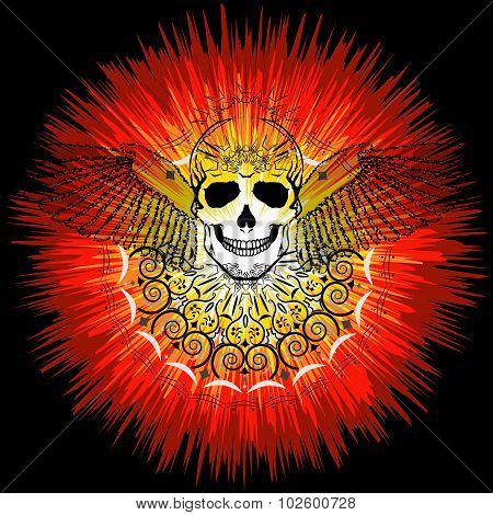 Vector Image Of Human Skull With Wings And The Sun In Abstract Art Style, Done In A Slightly Psyched