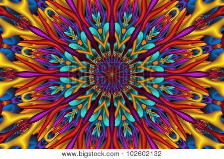 Colorful Glossy 3D Fractal Mandala
