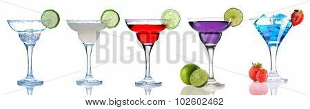 Margarita and Daiquiri cocktail collection isolated on white