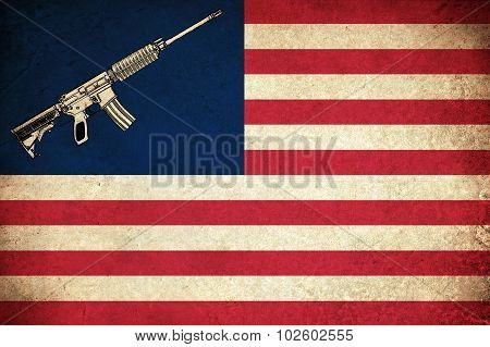 Grunge Flag Of Usa With Guns