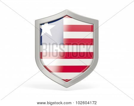 Shield Icon With Flag Of Liberia