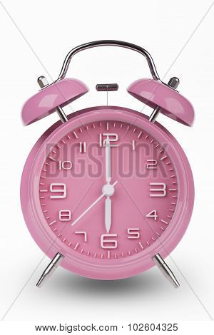 Pink Alarm Clock With Hands At 6 Am Or Pm isolated on white background
