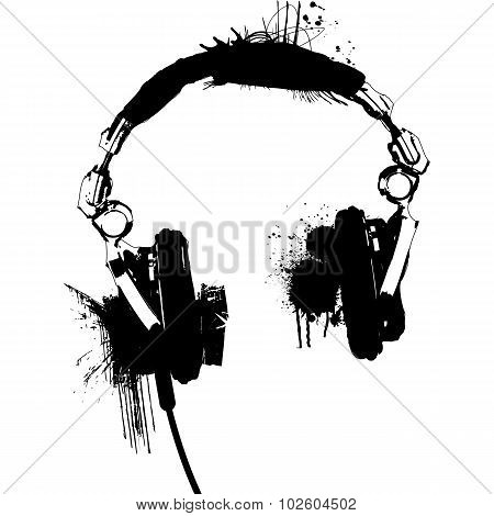 Headphones stencil vector 2