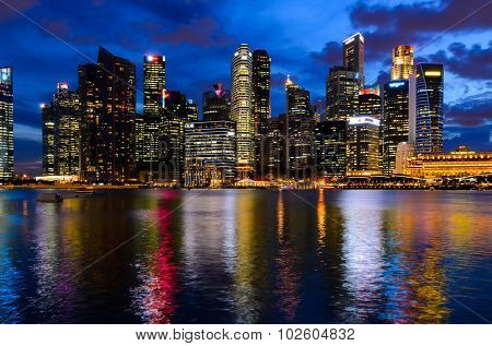 night view of Singapore downtown and marina bay