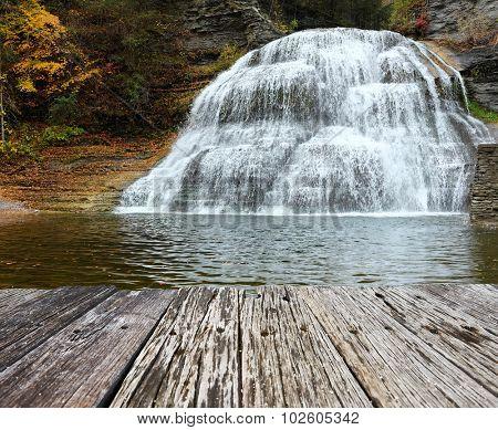 Autumn scene landscape of waterfalls at Robert H. Treman State Park