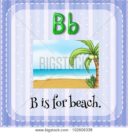 Flashcard letter B is for beach illustration