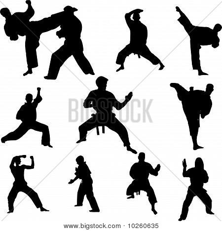 karate fighters - vector
