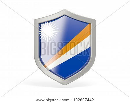 Shield Icon With Flag Of Marshall Islands