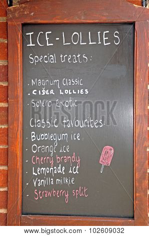 Ice-lollies chalkboard.